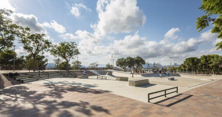 Skatepark, pavimento, losa, llosa, adoquín, parque